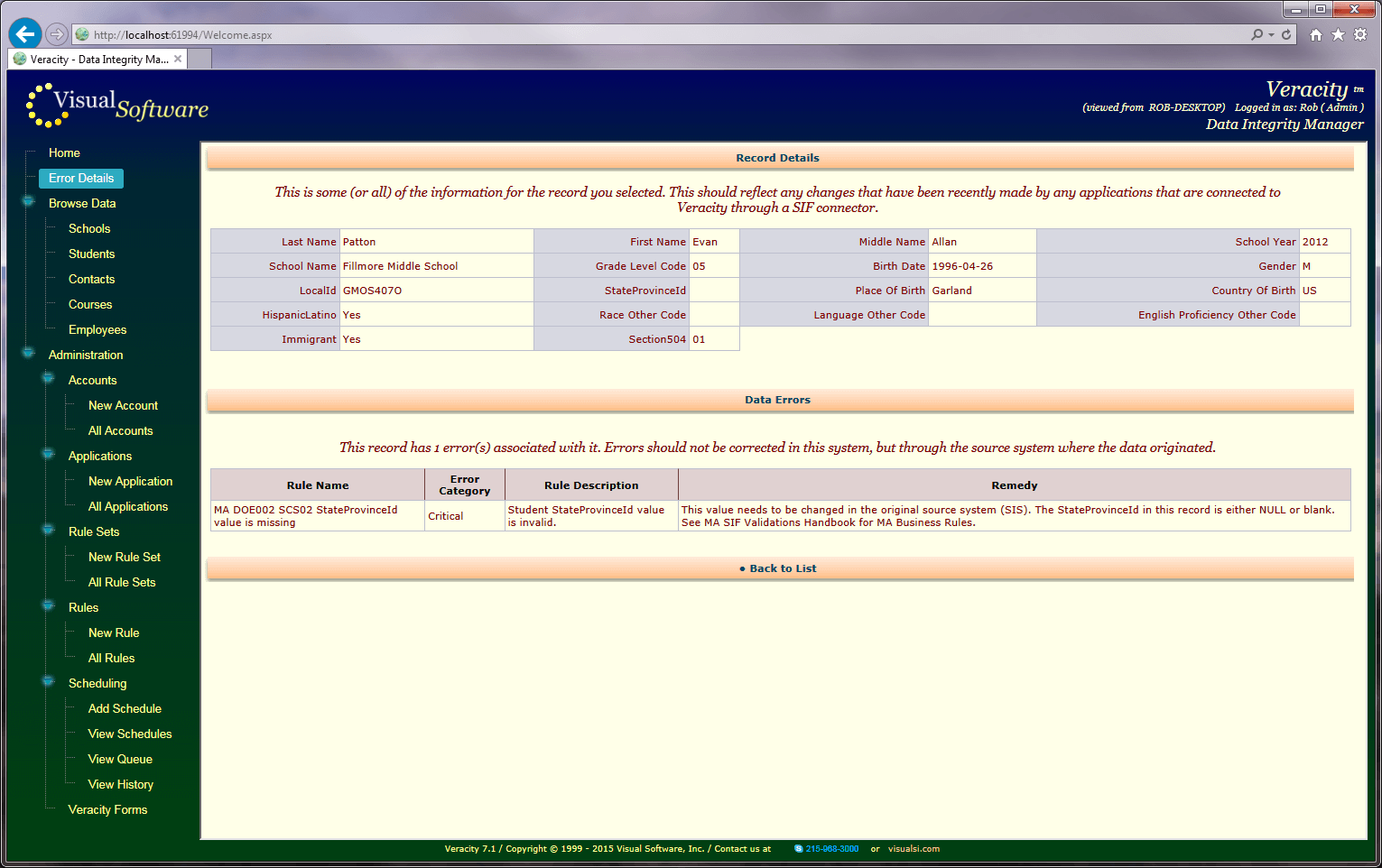 ErrorDetail - Veracity - Consolidation Agent and Integrity Manager