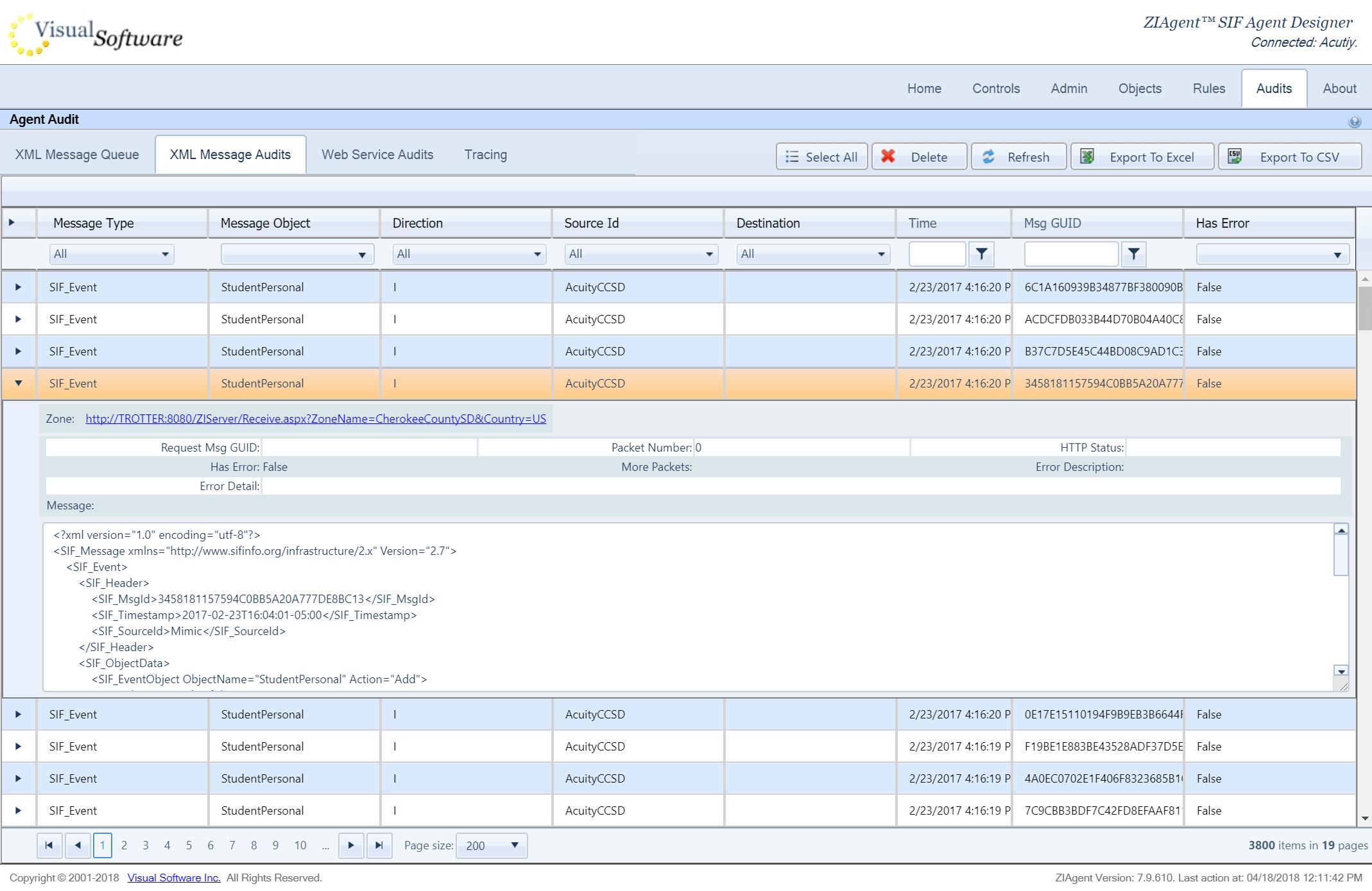screencapture nacho vsioffice 8082 Designer Audits aspx 2018 04 18 12 11 44 - ZIAgent - Configurable Application Adapter